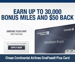 Continental Airlines OnePass Plus Credit Card