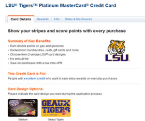 Capital One LSU Tigers Platinum MasterCard